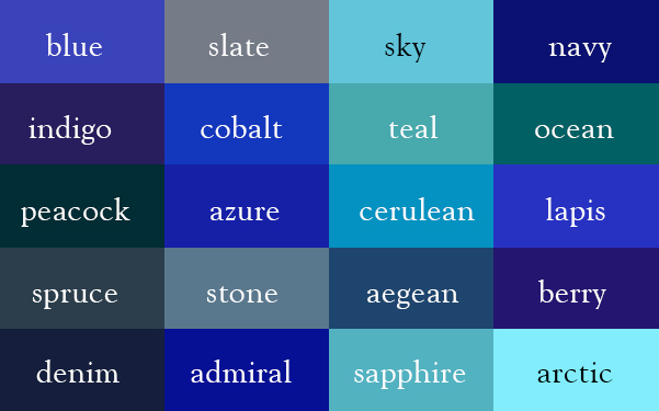 blue-shades correct names